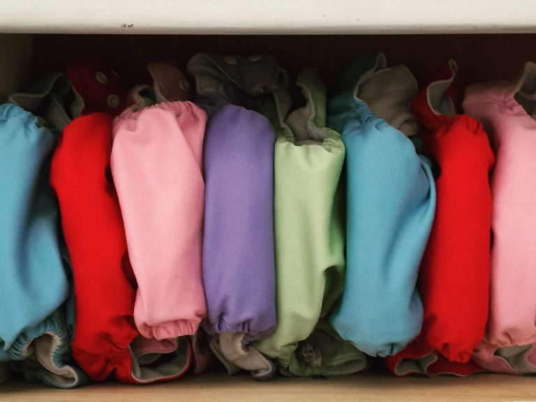 cloth nappies in a drawer